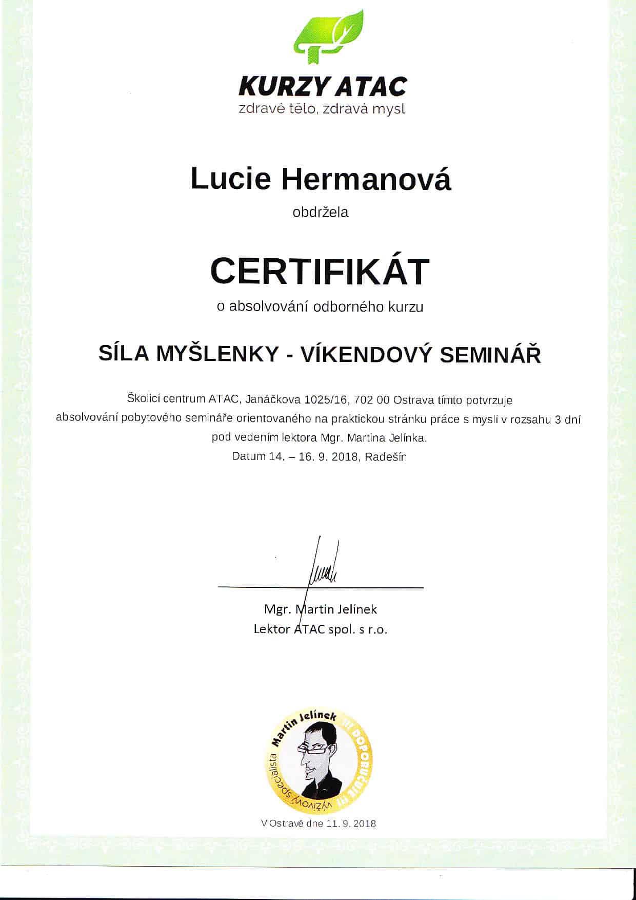 certifikát síla myšlenky