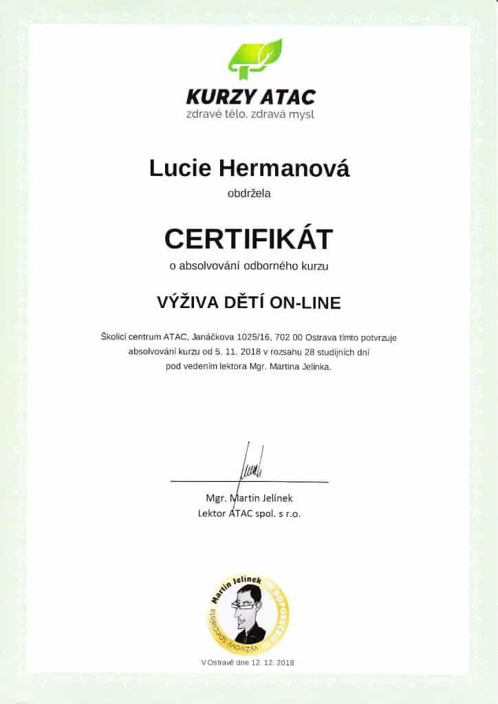 certifikát výživa dětí